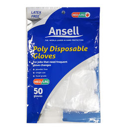Ansell Poly Disposable Gloves 50pk - DIY / Hair Dyeing & Food Handling