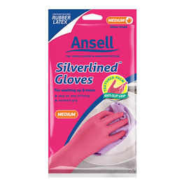 Ansell Pink Silverlined Gloves - Easy On & Off